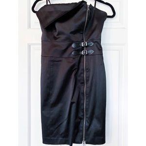 Vintage Bebe Asymmetrical Buckle Zip Up Mini Dress